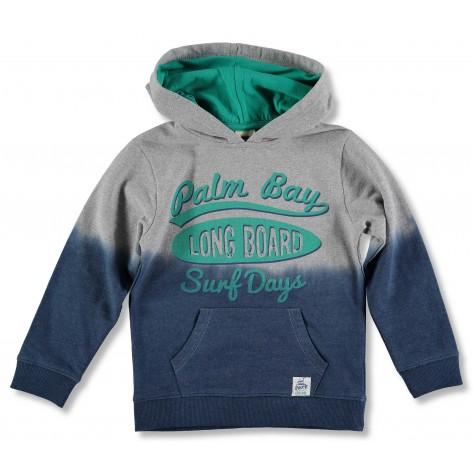 Sudadera con capucha gris, verde y marino