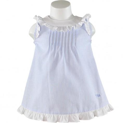 Vestido rayas azul y blancas con volantes