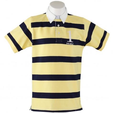 Polo niño rayas amarillo y marino