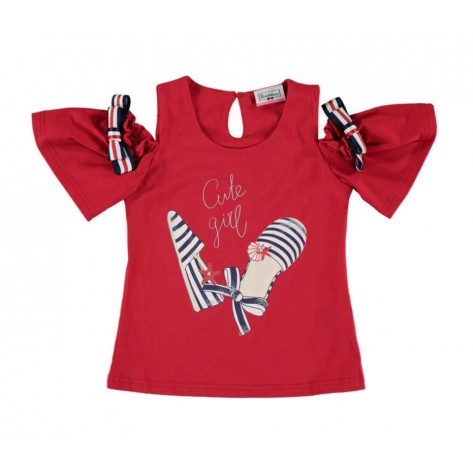 Camiseta cute girl roja hombro