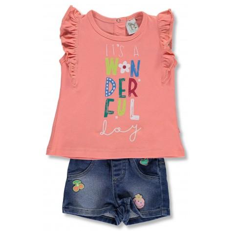 Conjunto short vaquero y camiseta coral col. colorado