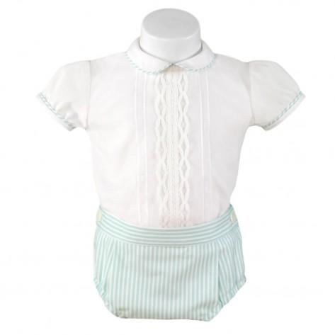 Conjunto braguita rayas verde agua y blusa blanca m/c