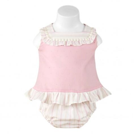 Conjunto braguita y blusa sin mangas rosa palo