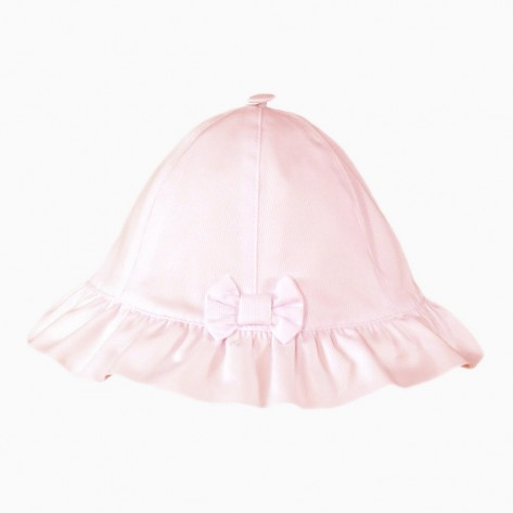 Gorro bebé rosa volante y lazo