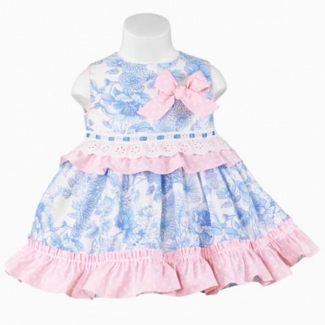 Vestido vuelo flores azul y rosa