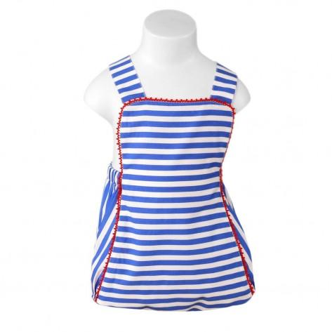 Ranita niño rayas azulón y blanco detalles rojo