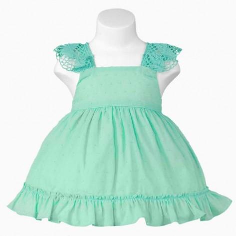 Vestido plumeti verde agua espalda cruzada