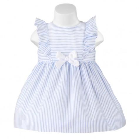 Vestido rayas azul y blanco volantes hombros