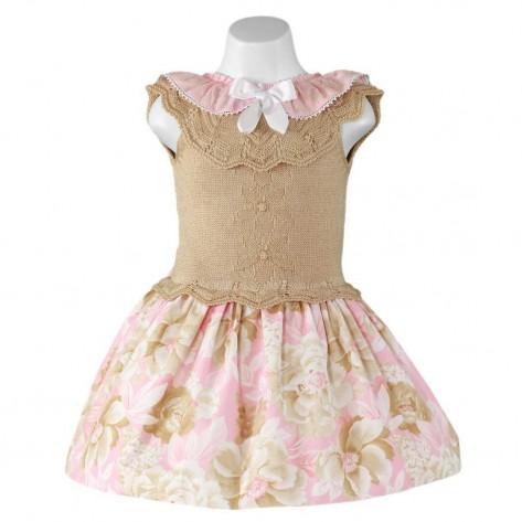 Vestido combinado rosa palo y marrón flores