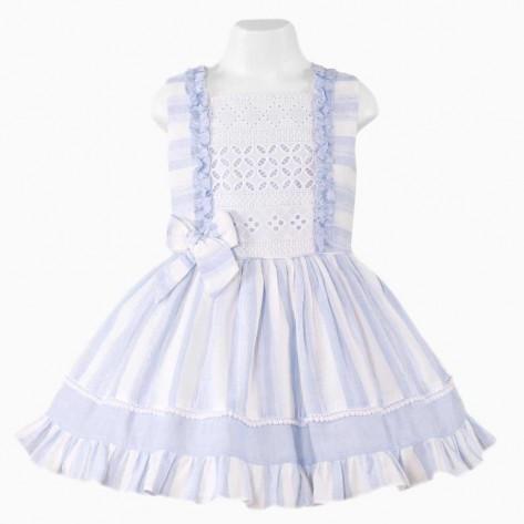 Vestido infantil vuelo rayas celeste y blanca
