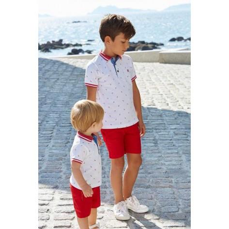 Pantalón corto rojo niño vestir