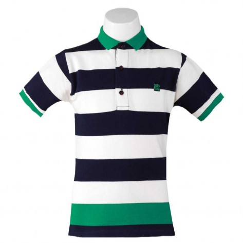 Polo rayas verde, marino y blanco