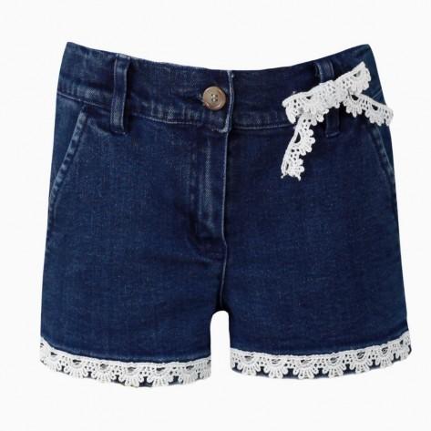 Pantalón corto vaquero chino cinta blanca
