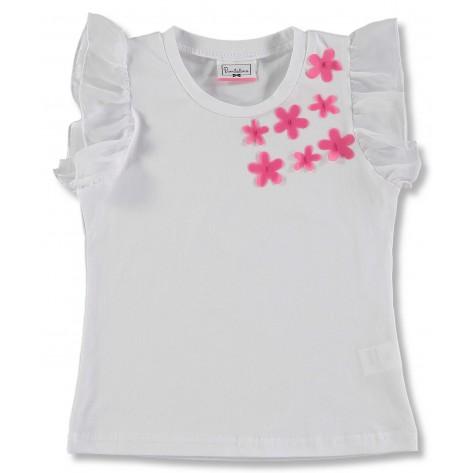 """Camiseta blanca volante hombros flores fucsia """" ankara"""""""