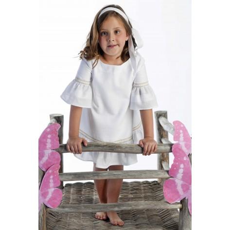 Vestido blanco cintas camel y volante