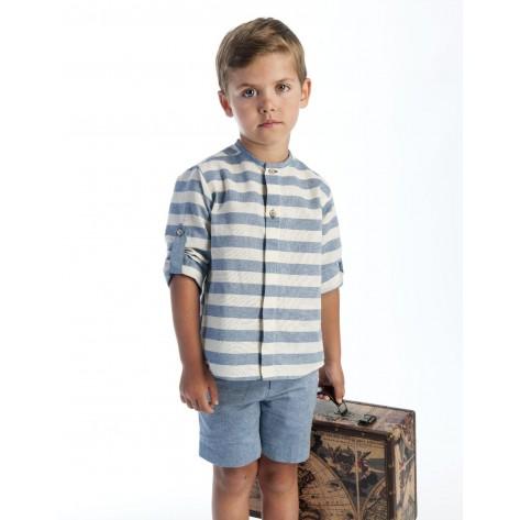 Conjunto bermuda tinta y camisa rayas con crudo