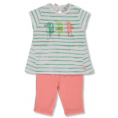 Conjunto leggins coral y camiseta rayas verde