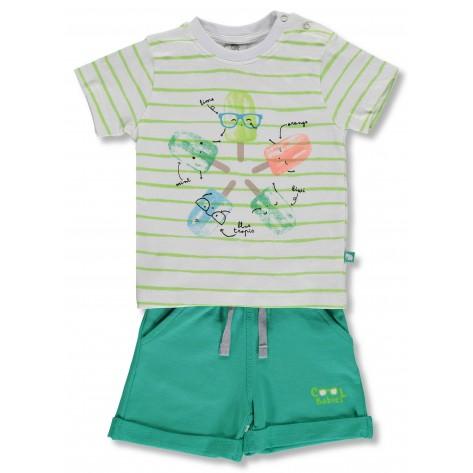 Conjunto bermuda verde y camiseta helados