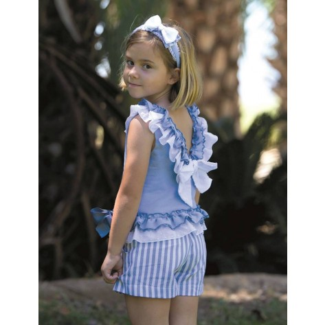 Conjunto short y blusa col. primavera Azul