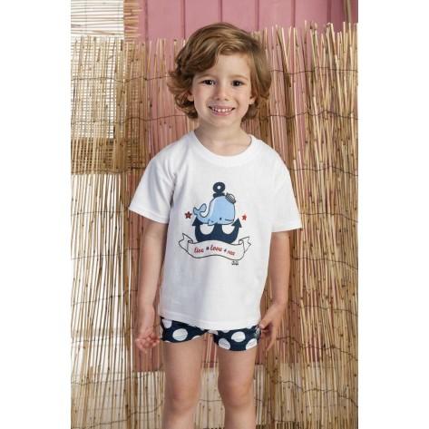 Conjunto boxer lunares y camiseta ballena