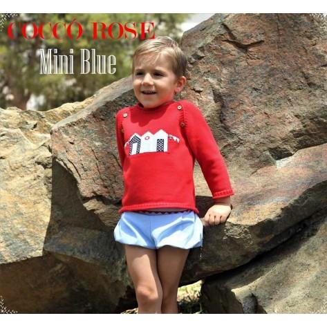 Jersey rojo casetas + bombacho niño mini blue