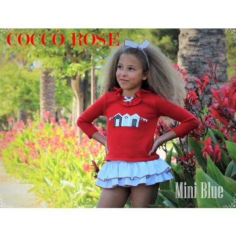 Jersey rojo casetas + braguita niña falda mini blue