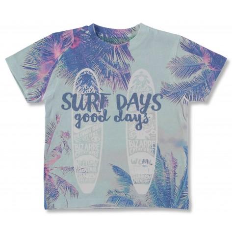 Camiseta manga corta azul surf palmeras