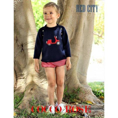 Jersey marino moto + bombacho niño red city