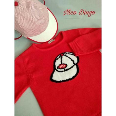 Jersey rojo gorra marino y blanca