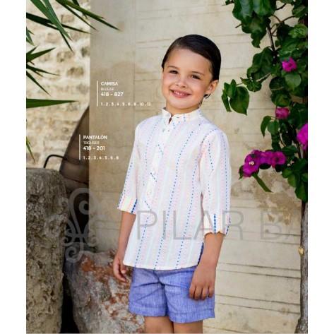 Camisa fluor y pantalón corto azul tinta