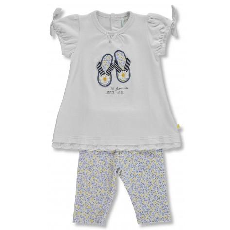 Conjunto leggins flores amarillas y azules y camiseta