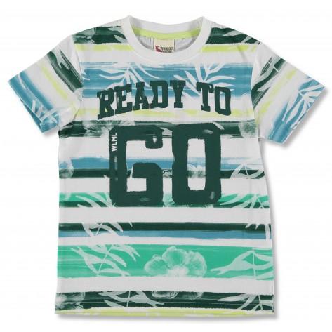 Camiseta manga corta blanca y verde go