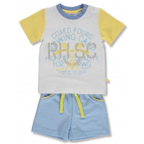 Conjunto pantalón corto azul empolvado y camiseta