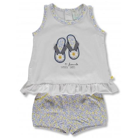 Conjunto pantalón corto flores amarillas/azules y camiseta