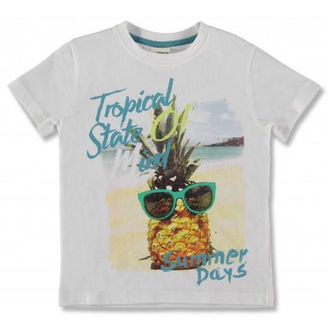 Camiseta manga corta blanca piña gafas