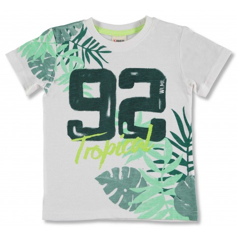 Camiseta m/corta blanca hojas verdes