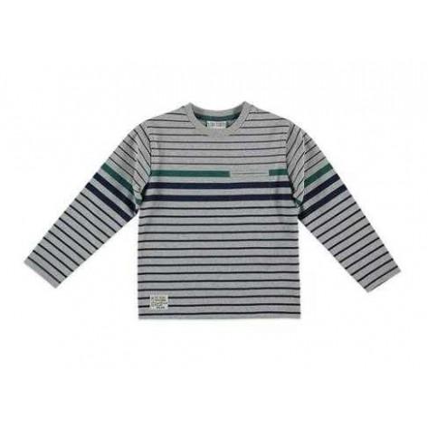 Camiseta rayas gris, marino y verde