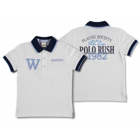"""Polo m/c blanco cuello marino """"windsor"""""""