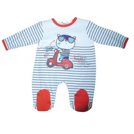 Pijama pelele blanco y rojo manga larga