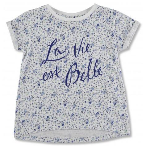 Camiseta flores azules manga corta