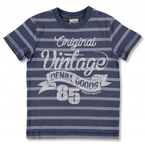 Camiseta manga corta rayas azul y gris