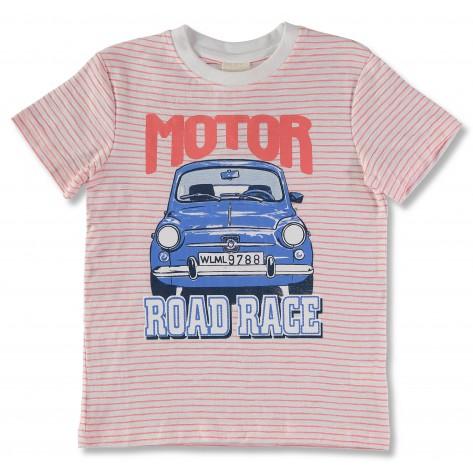 Camiseta manga corta rayas rojas coche