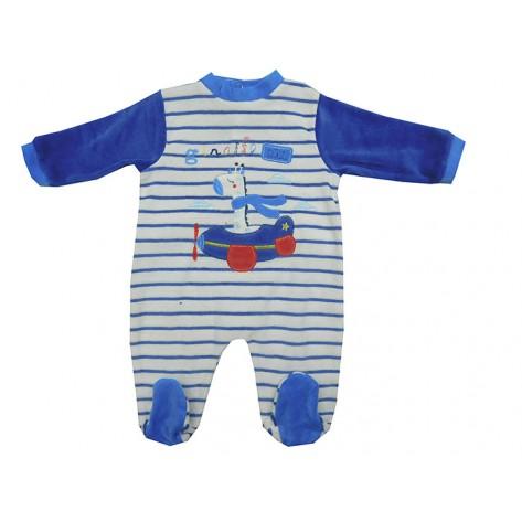 Pijama bebé terciopelo azulón y blanco jirafa