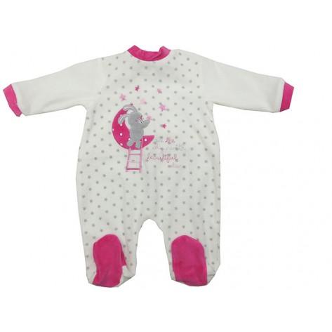 Pijama terciopelo bebé blanco y fucsia estrellas