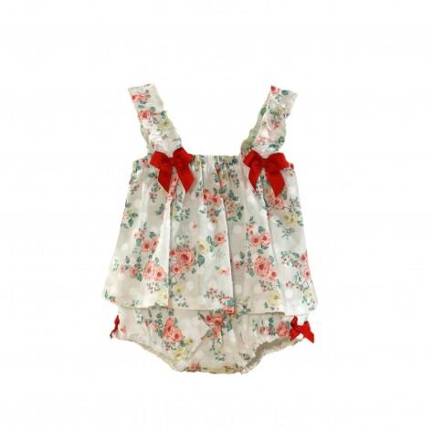 Conjunto blusa y braguita flores lazos rojos