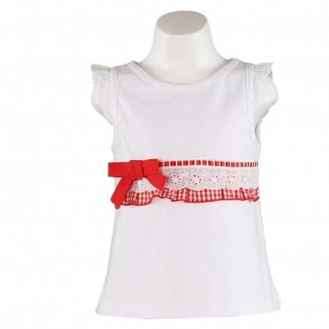Camiseta sin mangas blancas cinta y lazo rojo