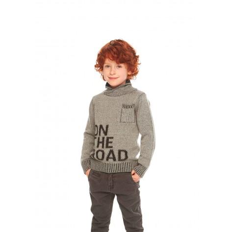 Jersey niño tricotosa gris cuello cruzado