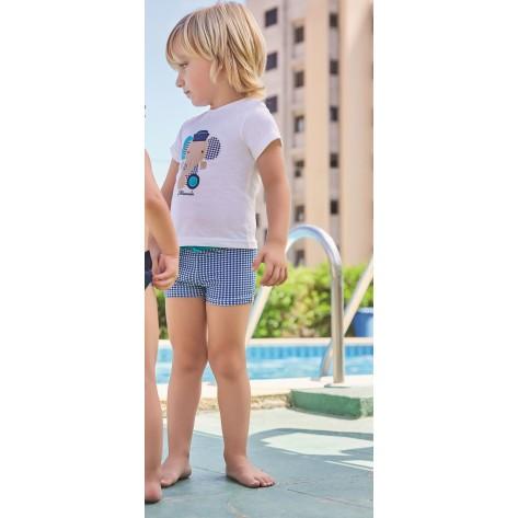 Conjunto baño niño boxer cuadros marino y camiseta elefante