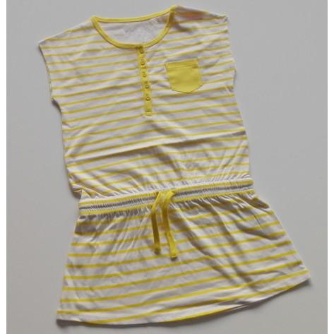 Vestido sport rayas blanco y amarillo