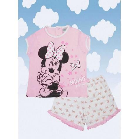Pijama dos piezas corto minnie rosa palo